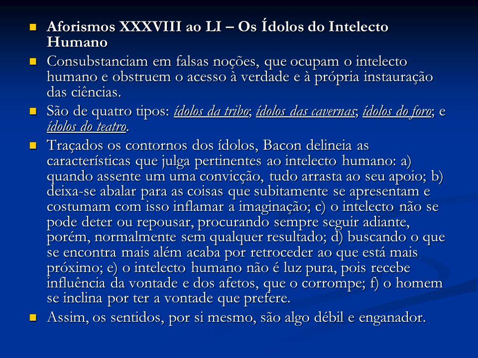 Aforismos XXXVIII ao LI – Os Ídolos do Intelecto Humano Aforismos XXXVIII ao LI – Os Ídolos do Intelecto Humano Consubstanciam em falsas noções, que o