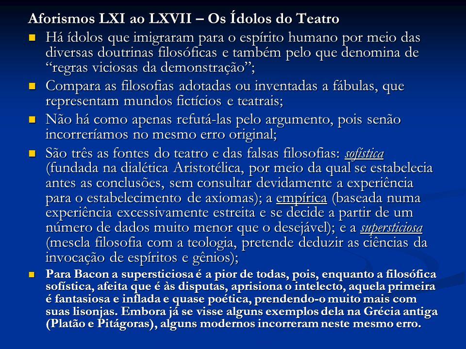 Aforismos LXI ao LXVII – Os Ídolos do Teatro Há ídolos que imigraram para o espírito humano por meio das diversas doutrinas filosóficas e também pelo