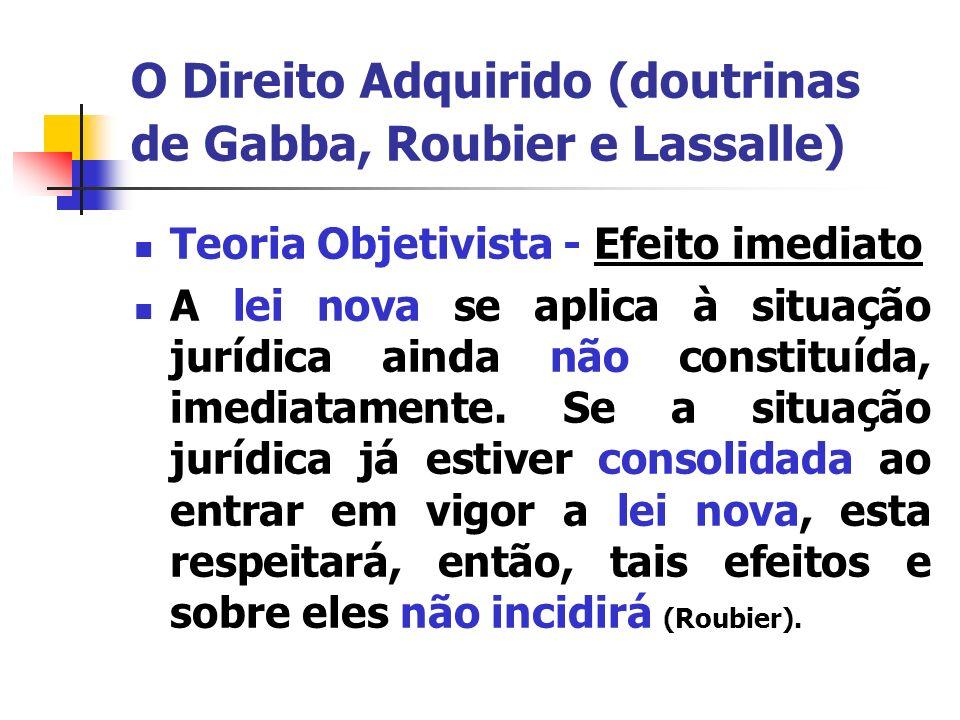 O Direito Adquirido (doutrinas de Gabba, Roubier e Lassalle) Teoria Objetivista – LICC efeito imediato e geral da lei a partir de sua vigência respeitados o ato jurídico perfeito, o direito adquirido e a coisa julgada Art.