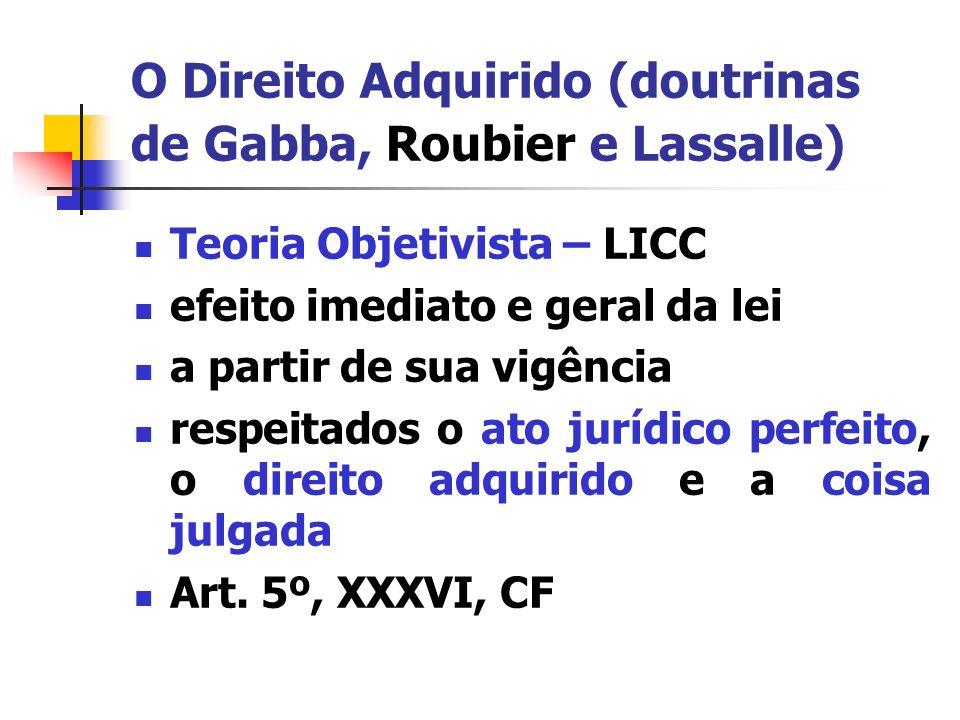 O Direito Adquirido (doutrinas de Gabba, Roubier e Lassalle) Ato jurídico perfeito: todo ato lícito que tenha por fim imediato adquirir, resguardar, transferir, modificar ou extinguir direitos (art.