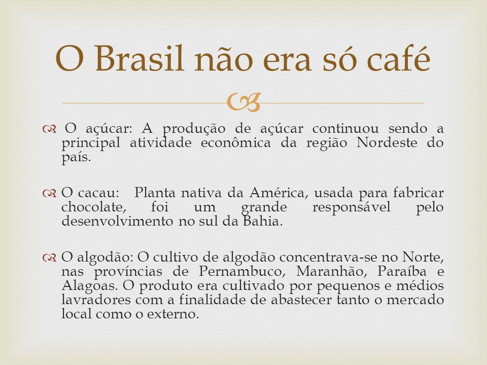 O açúcar: A produção de açúcar continuou sendo a principal atividade econômica da região Nordeste do país. O cacau: Planta nativa da América, usada pa