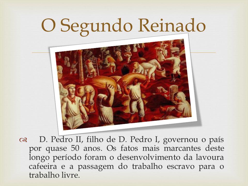 D. Pedro II, filho de D. Pedro I, governou o país por quase 50 anos. Os fatos mais marcantes deste longo período foram o desenvolvimento da lavoura ca
