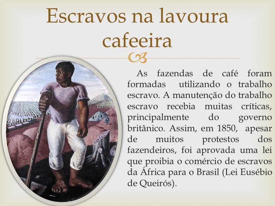 As fazendas de café foram formadas utilizando o trabalho escravo. A manutenção do trabalho escravo recebia muitas críticas, principalmente do governo