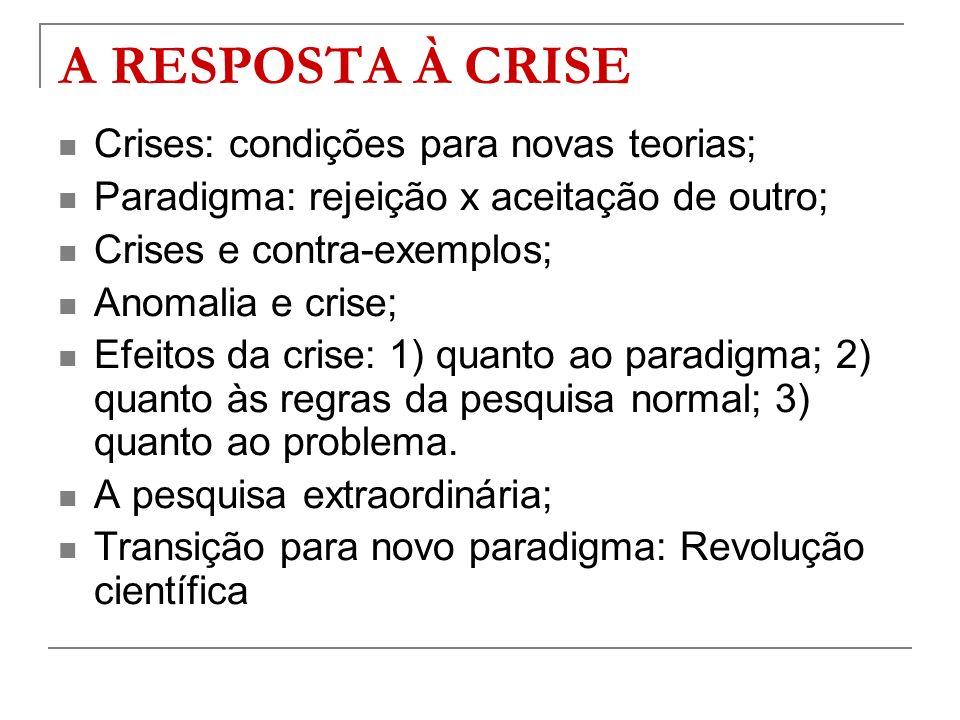 A RESPOSTA À CRISE Crises: condições para novas teorias; Paradigma: rejeição x aceitação de outro; Crises e contra-exemplos; Anomalia e crise; Efeitos