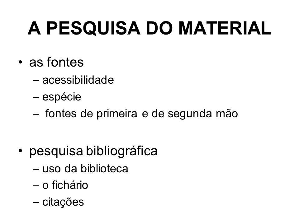 A PESQUISA DO MATERIAL as fontes –acessibilidade –espécie – fontes de primeira e de segunda mão pesquisa bibliográfica –uso da biblioteca –o fichário