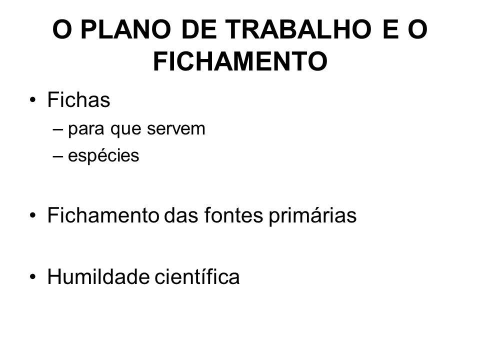 O PLANO DE TRABALHO E O FICHAMENTO Fichas –para que servem –espécies Fichamento das fontes primárias Humildade científica