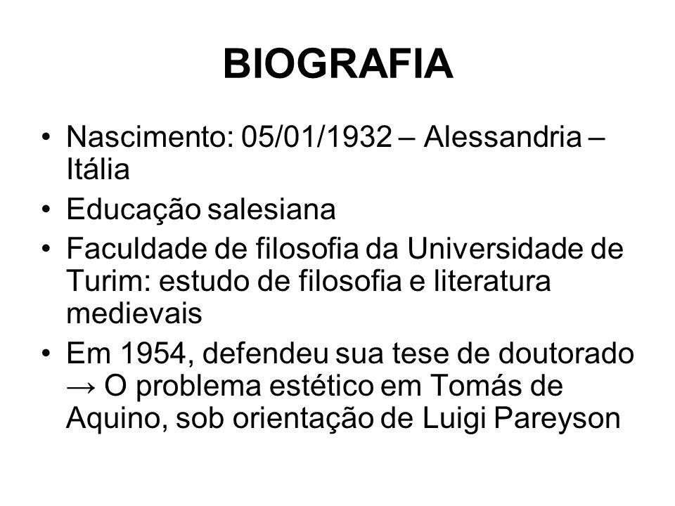 BIOGRAFIA Nascimento: 05/01/1932 – Alessandria – Itália Educação salesiana Faculdade de filosofia da Universidade de Turim: estudo de filosofia e lite