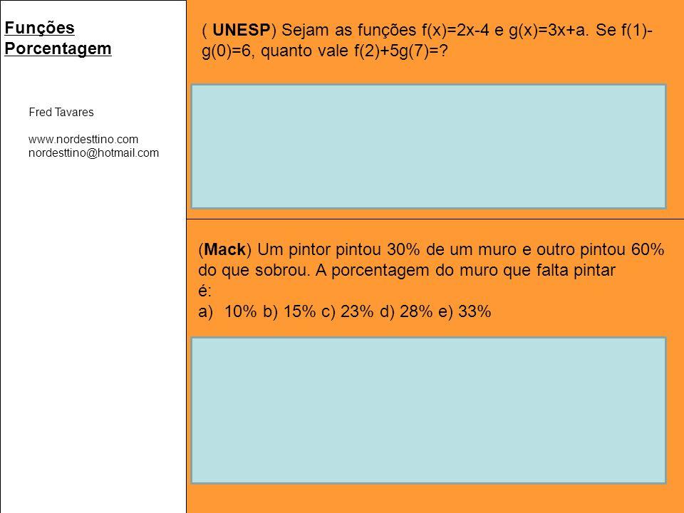 Fred Tavares www.nordesttino.com nordesttino@hotmail.com Funções Porcentagem ( UNESP) Sejam as funções f(x)=2x-4 e g(x)=3x+a.