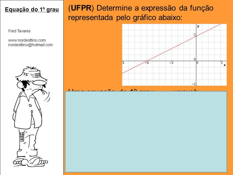(UFPR) Determine a expressão da função representada pelo gráfico abaixo: Uma equação do 1º grau y=ax+b Pelo gráfico, concluímos: Quando x=0, y=2 ponto (0,2) Quando y=0, x=-4 ponto (0,-4) Substituindo os valores em y=ax+b: 2=a.0+b 0 = -4a + 2 b=2 a = 1/2 Logo, a expressão é y = 1/2x+2.