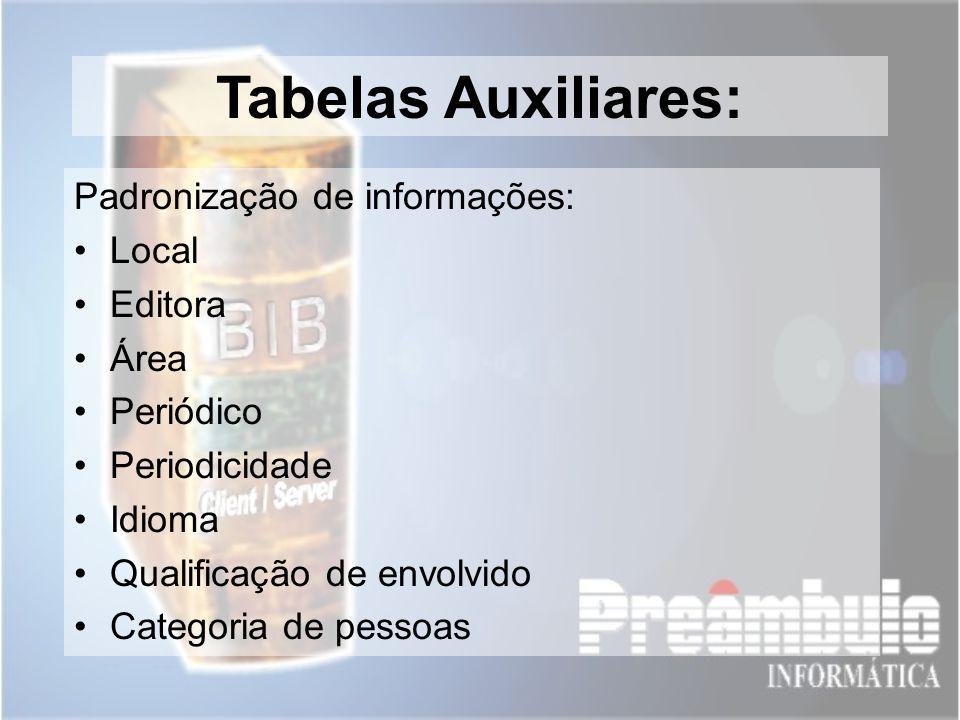 Tabelas Auxiliares: Padronização de informações: Local Editora Área Periódico Periodicidade Idioma Qualificação de envolvido Categoria de pessoas
