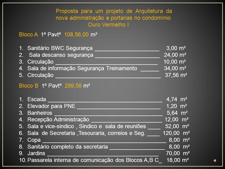 Proposta para um projeto de Arquitetura da nova administração e portarias no condomínio Ouro Vermelho I Bloco B: Térreo 184,00 m² 1.Espaço para desenvolvimento das comissões ______120,00 m² 2.Teatro de arena ______________________________ 47,00 m² 3.Banheiros __________________________________ 5,00 m² 4.Área de recepção _____________________________ 12,00 m² Total área Térreo _____________________ 282,70 m²