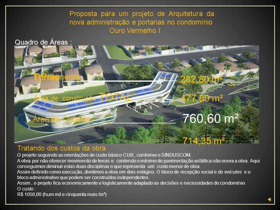 Proposta para um projeto de Arquitetura da nova administração e portarias no condomínio Ouro Vermelho I Bloco B: 1º Pavtº 299,58 m² 1.Escada _________