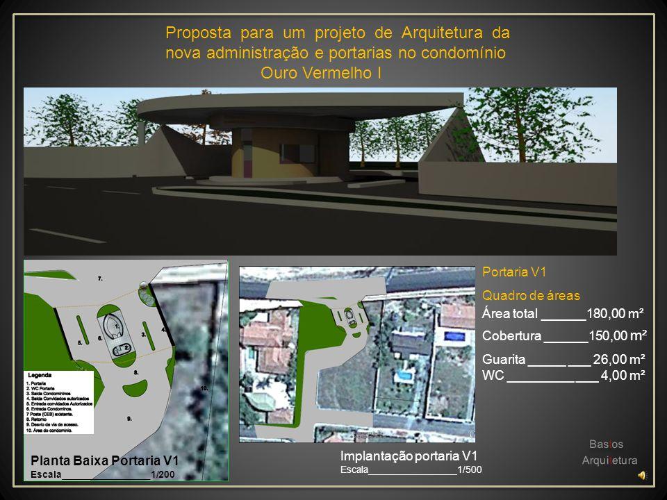 Proposta para um projeto de Arquitetura da nova administração e portarias no condomínio Ouro Vermelho I Área de Coberta ______________________ Quadro