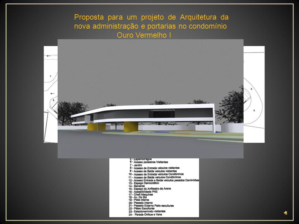 Proposta para um projeto de Arquitetura da nova administração e portarias no condomínio Ouro Vermelho I Cobertura ______150,00 m² Guarita _____ ___ 26,00 m² WC _________ ___ 4,00 m² Área total ______180,00 m² Planta Baixa Portaria V1 Escala________________1/200 Implantação portaria V1 Escala________________1/500 Quadro de áreas Bastos Arquitetura Portaria V1