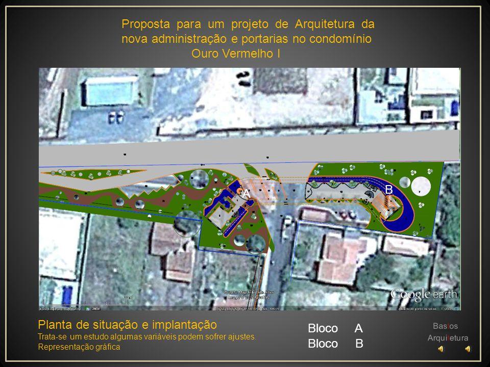 Proposta para um projeto de Arquitetura da nova administração e portarias no condomínio Ouro Vermelho I Bastos Arquitetura Perspectiva estudo da compo