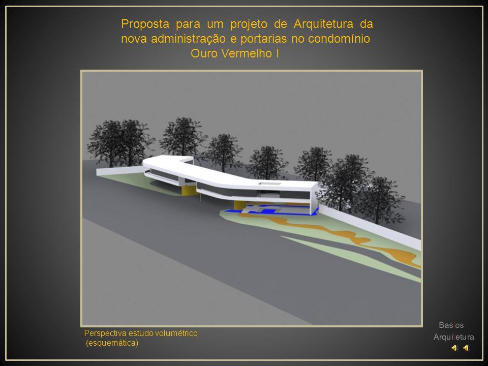 Proposta para um projeto de Arquitetura da nova administração e portarias no condomínio Ouro Vermelho I Planta de situação e implantação Trata-se um e