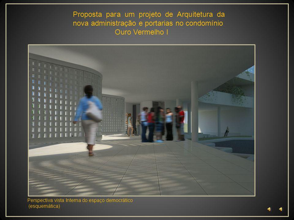 Proposta para um projeto de Arquitetura da nova administração e portarias no condomínio Ouro Vermelho I Perspectiva Detalhe construtivo fachada (esque