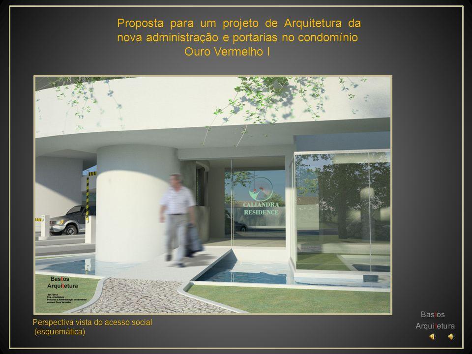 Proposta para um projeto de Arquitetura da nova administração e portarias no condomínio Ouro Vermelho I Perspectiva vista Interna do espaço democrátic