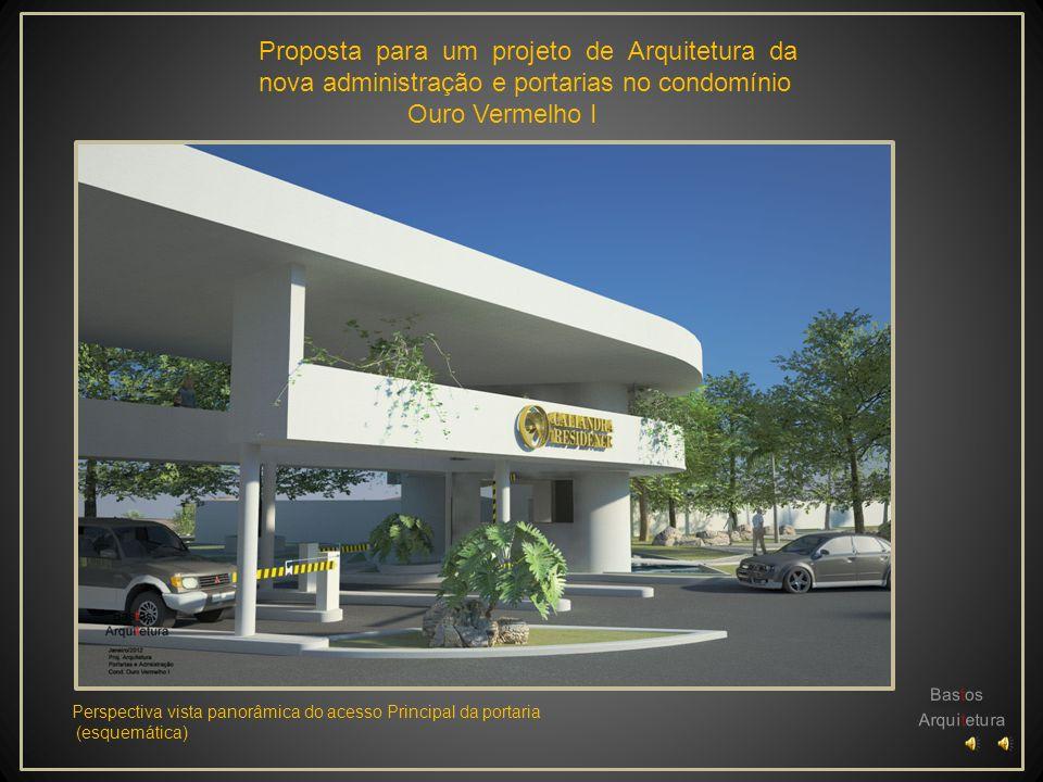 Proposta para um projeto de Arquitetura da nova administração e portarias no condomínio Ouro Vermelho I Perspectiva vista do acesso social (esquemátic