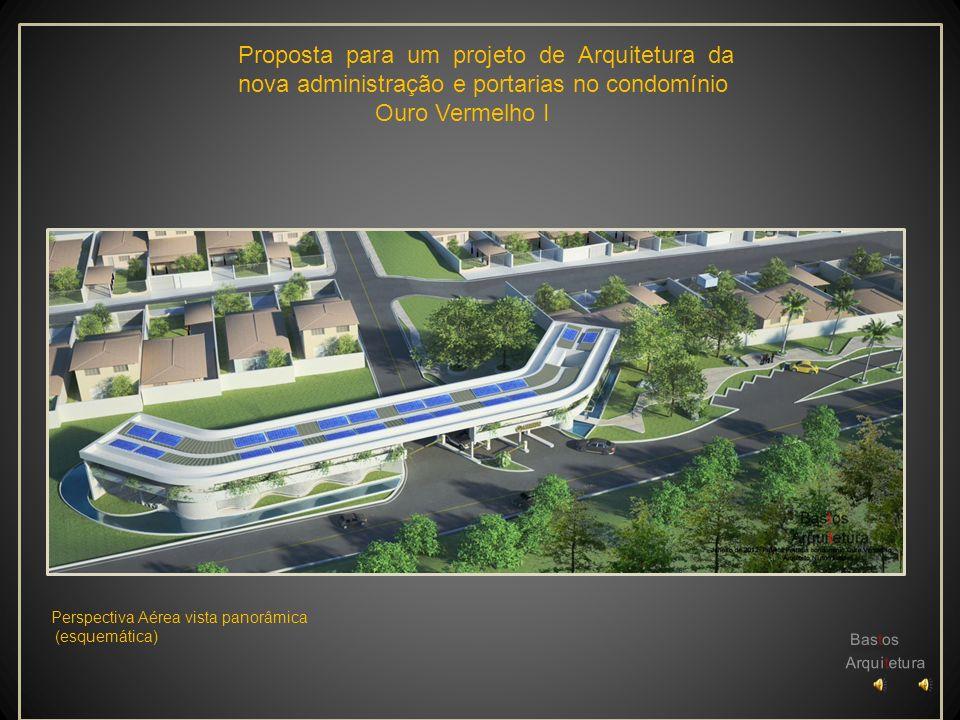 Proposta para um projeto de Arquitetura da nova administração e portarias no condomínio Ouro Vermelho I Perspectiva vista Interna Área Administrativa (esquemática)