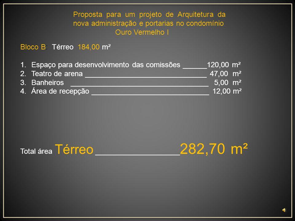 Bloco A Térreo: 98,80 m² 1.Portaria _________________________________10,00 m² 2.Recepção ______________________________ 14,80 m² 3.Estar Sala de visit