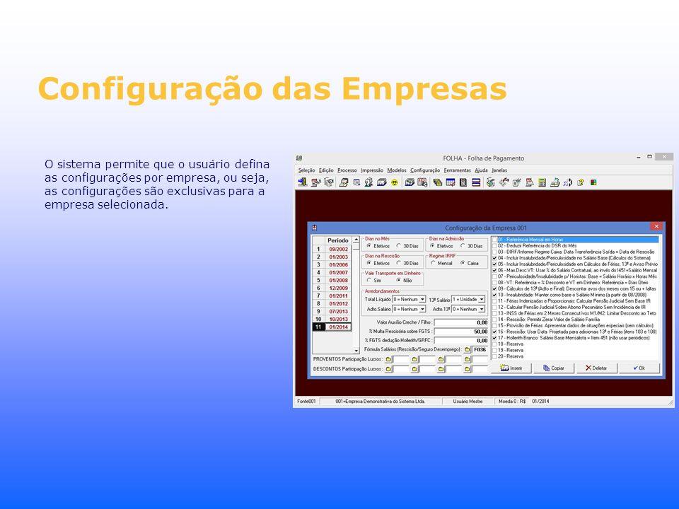 Configuração das Empresas O sistema permite que o usuário defina as configurações por empresa, ou seja, as configurações são exclusivas para a empresa