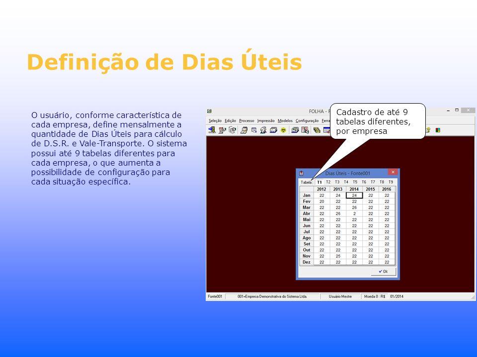 Definição de Dias Úteis O usuário, conforme característica de cada empresa, define mensalmente a quantidade de Dias Úteis para cálculo de D.S.R. e Val