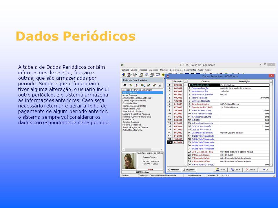 A tabela de Dados Periódicos contém informações de salário, função e outras, que são armazenadas por período. Sempre que o funcionário tiver alguma al