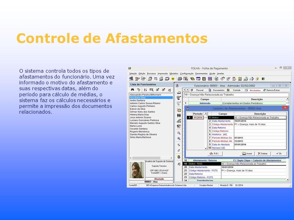 Controle de Afastamentos O sistema controla todos os tipos de afastamentos do funcionário. Uma vez informado o motivo do afastamento e suas respectiva