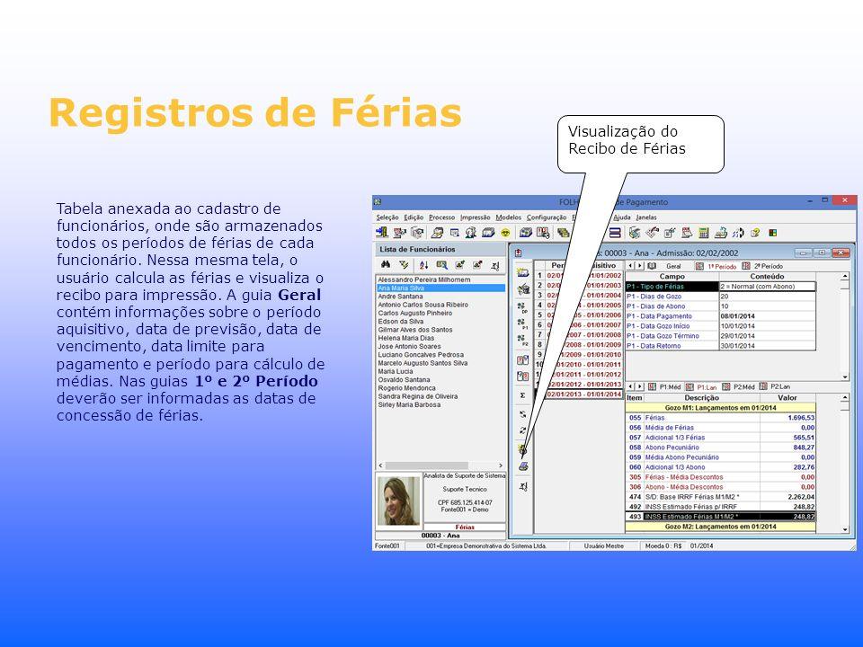Registros de Férias Tabela anexada ao cadastro de funcionários, onde são armazenados todos os períodos de férias de cada funcionário. Nessa mesma tela