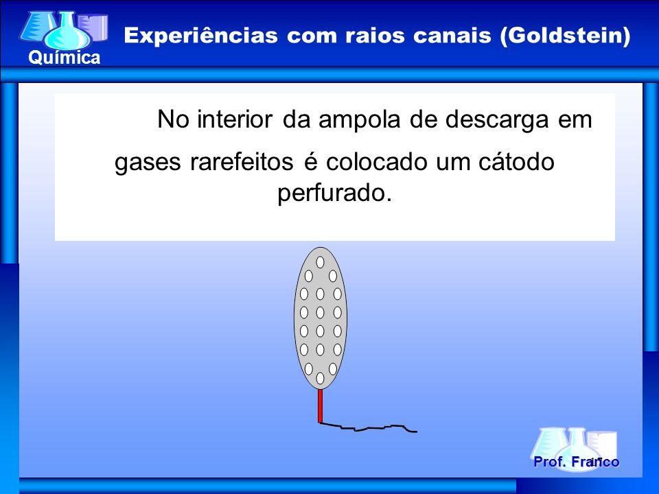 No interior da ampola de descarga em gases rarefeitos é colocado um cátodo perfurado. Prof. Franco Química Experiências com raios canais (Goldstein) 1