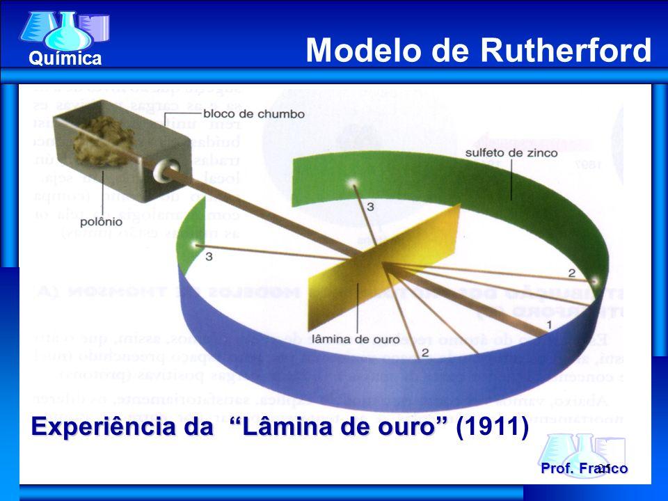 Prof. Franco Química Modelo de Rutherford Experiência da Lâmina de ouro Experiência da Lâmina de ouro (1911) 25