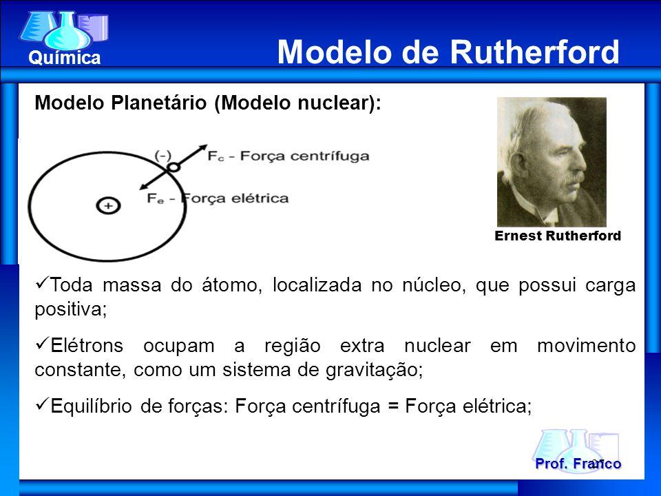 Modelo de Rutherford Prof. Franco Química Modelo de Rutherford Modelo Planetário (Modelo nuclear): Toda massa do átomo, localizada no núcleo, que poss