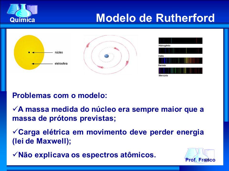 Prof. Franco Química Modelo de Rutherford Problemas com o modelo: A massa medida do núcleo era sempre maior que a massa de prótons previstas; Carga el