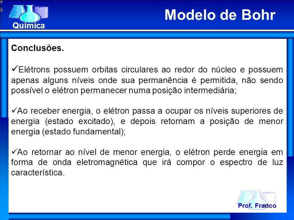 Prof. Franco Química 33 Conclusões. Elétrons possuem orbitas circulares ao redor do núcleo e possuem apenas alguns níveis onde sua permanência é permi