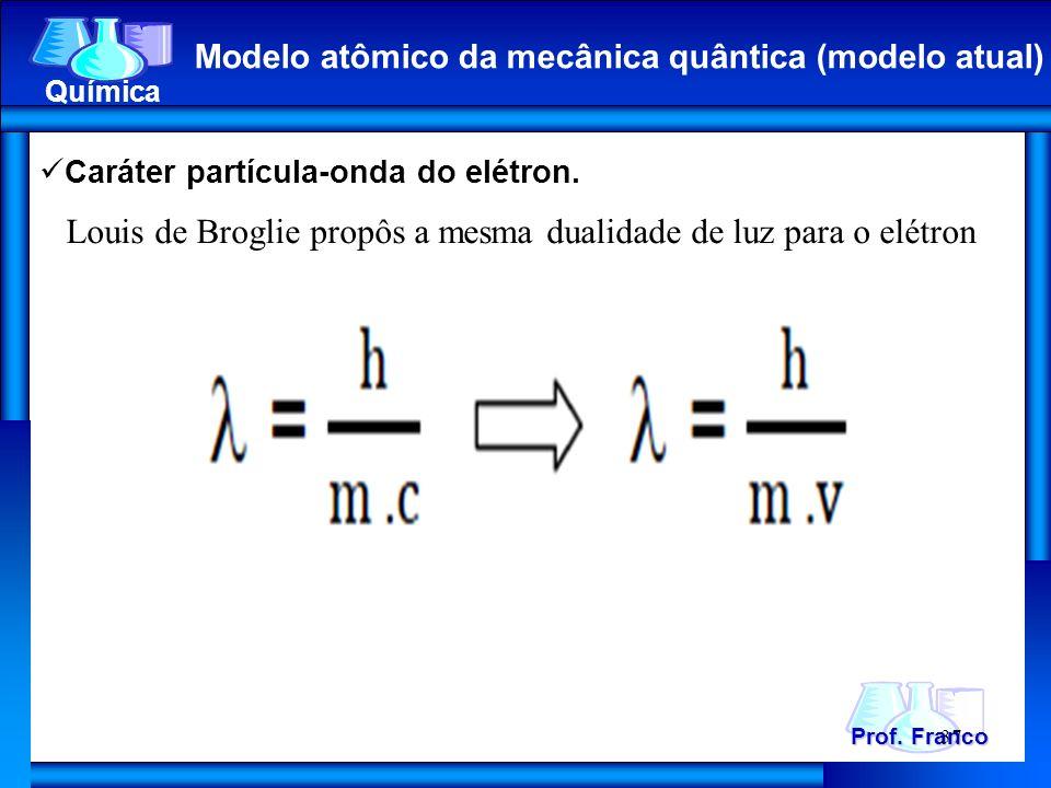 Prof. Franco Química Modelo atômico da mecânica quântica (modelo atual) 37 Caráter partícula-onda do elétron. Louis de Broglie propôs a mesma dualidad