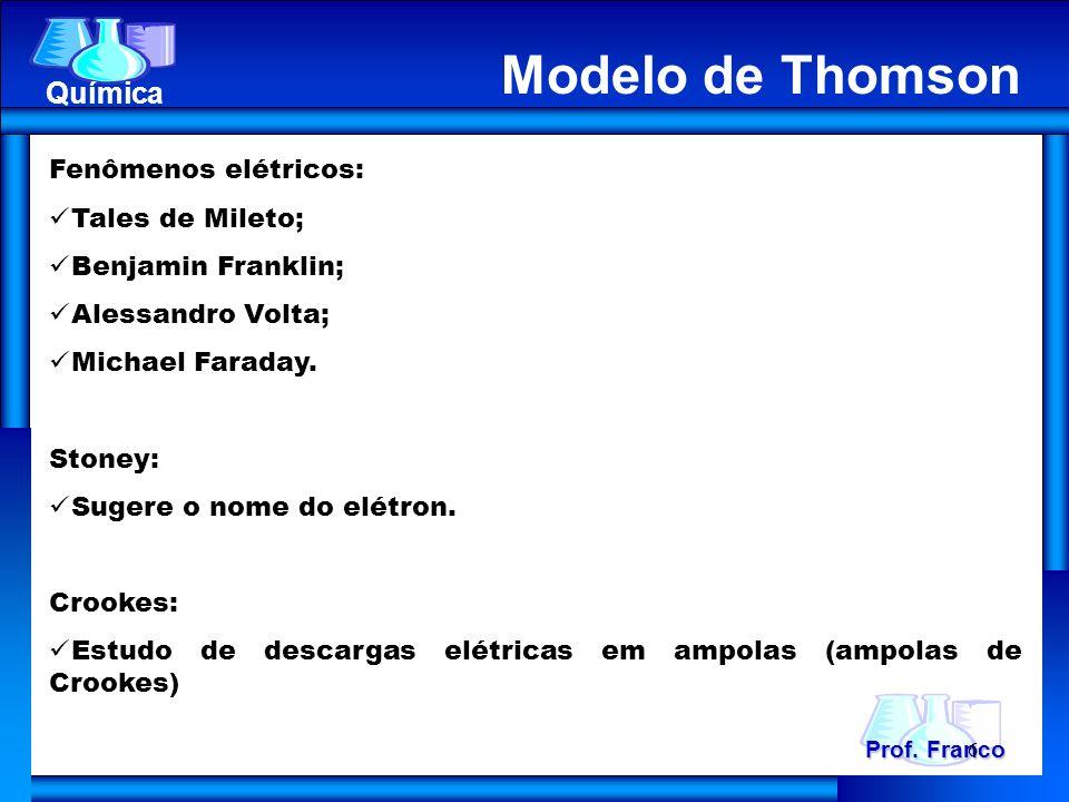 Fenômenos elétricos: Tales de Mileto; Benjamin Franklin; Alessandro Volta; Michael Faraday. Stoney: Sugere o nome do elétron. Crookes: Estudo de desca