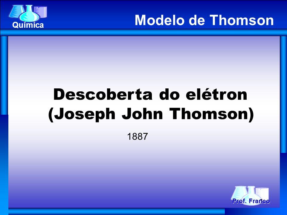 Descoberta do elétron (Joseph John Thomson) 1887 Prof. Franco Química Modelo de Thomson 7
