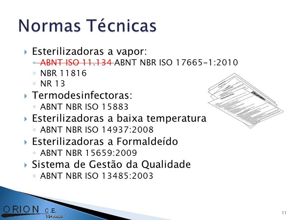 Esterilizadoras a vapor: ABNT ISO 11.134 ABNT NBR ISO 17665-1:2010 NBR 11816 NR 13 Termodesinfectoras: ABNT NBR ISO 15883 Esterilizadoras a baixa temperatura ABNT NBR ISO 14937:2008 Esterilizadoras a Formaldeído ABNT NBR 15659:2009 Sistema de Gestão da Qualidade ABNT NBR ISO 13485:2003 11