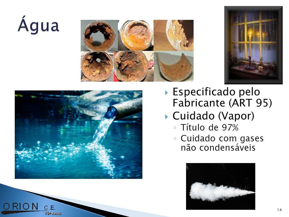 Especificado pelo Fabricante (ART 95) Cuidado (Vapor) Título de 97% Cuidado com gases não condensáveis 14