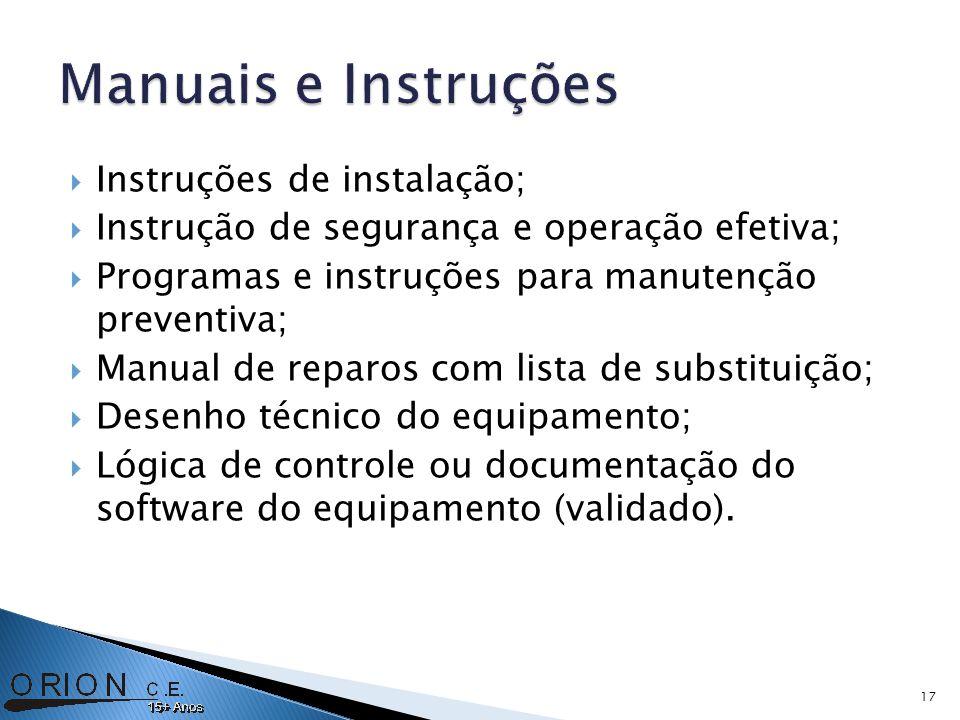 Instruções de instalação; Instrução de segurança e operação efetiva; Programas e instruções para manutenção preventiva; Manual de reparos com lista de substituição; Desenho técnico do equipamento; Lógica de controle ou documentação do software do equipamento (validado).