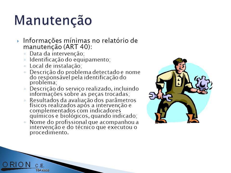 Informações mínimas no relatório de manutenção (ART 40): Data da intervenção; Identificação do equipamento; Local de instalação; Descrição do problema