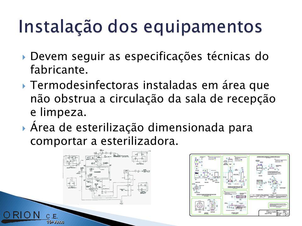 Devem seguir as especificações técnicas do fabricante. Termodesinfectoras instaladas em área que não obstrua a circulação da sala de recepção e limpez