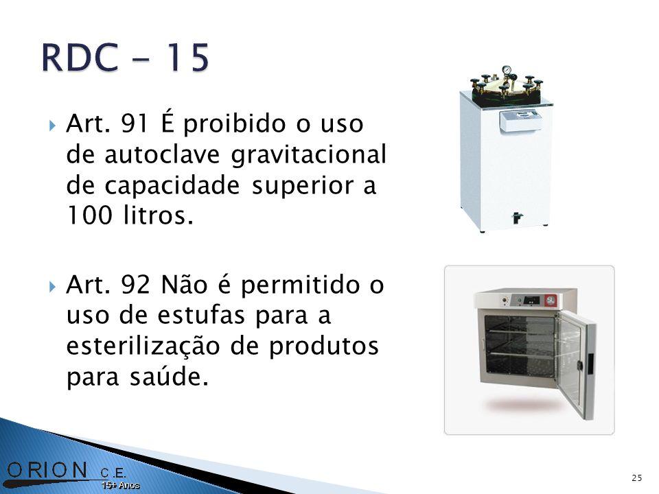 Art. 91 É proibido o uso de autoclave gravitacional de capacidade superior a 100 litros. Art. 92 Não é permitido o uso de estufas para a esterilização