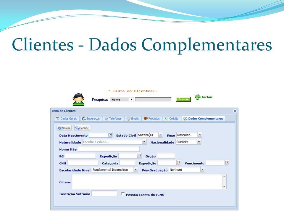 Clientes - Dados Complementares