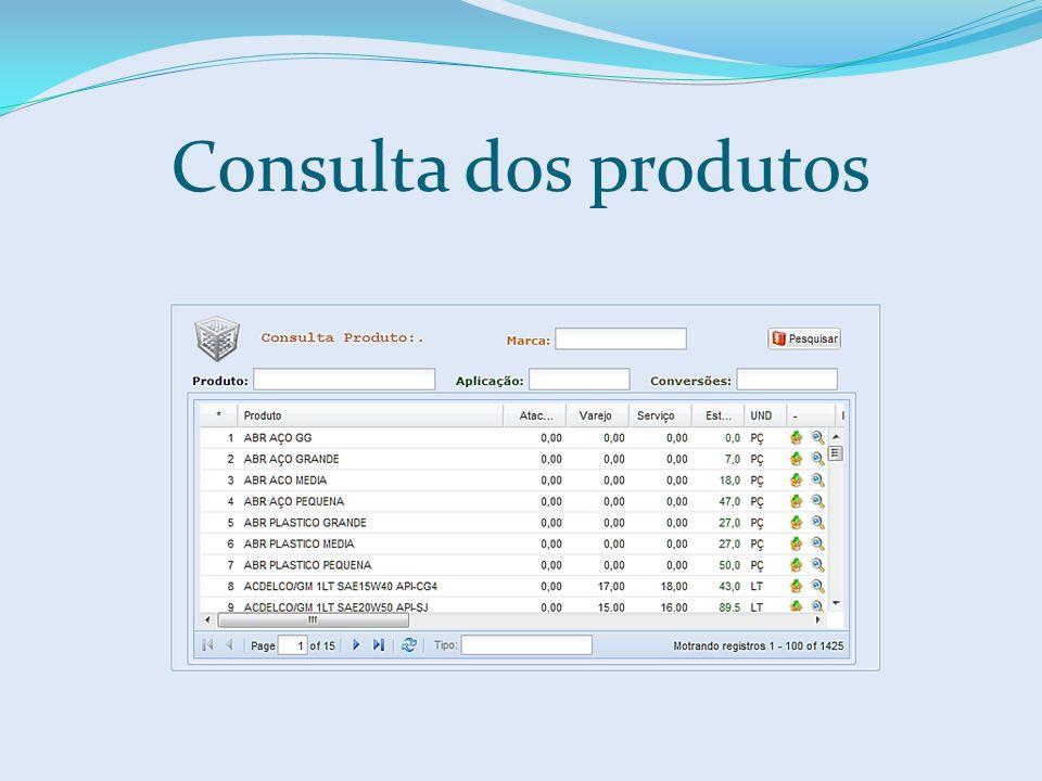 Consulta dos produtos