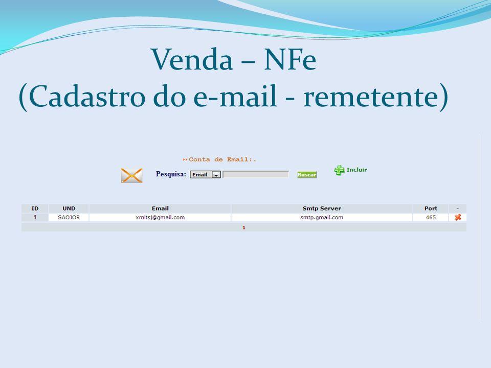 Venda – NFe (Cadastro do e-mail - remetente)