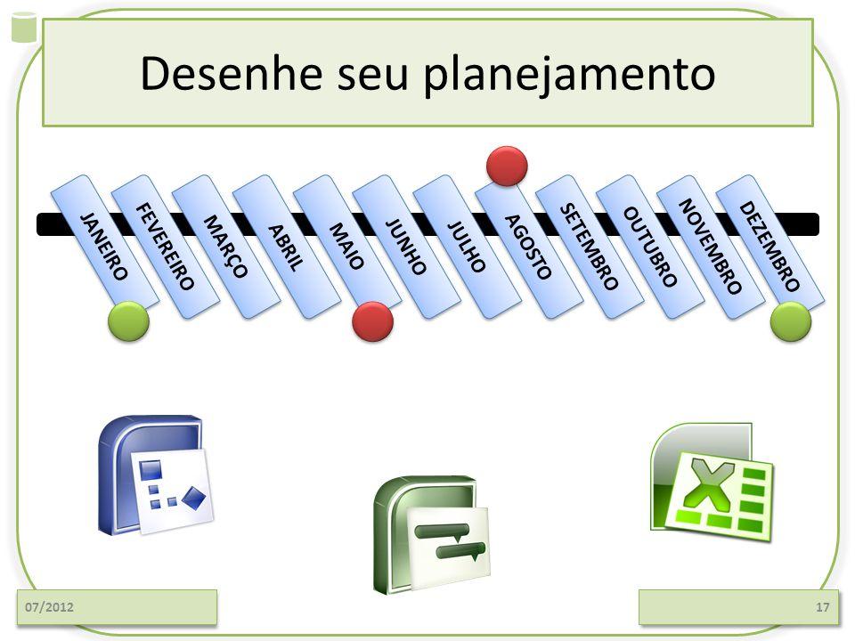 Desenhe seu planejamento 07/201217 JANEIRO FEVEREIRO ABRIL MAIO JUNHO MARÇO JULHO AGOSTO SETEMBRO OUTUBRO NOVEMBRO DEZEMBRO