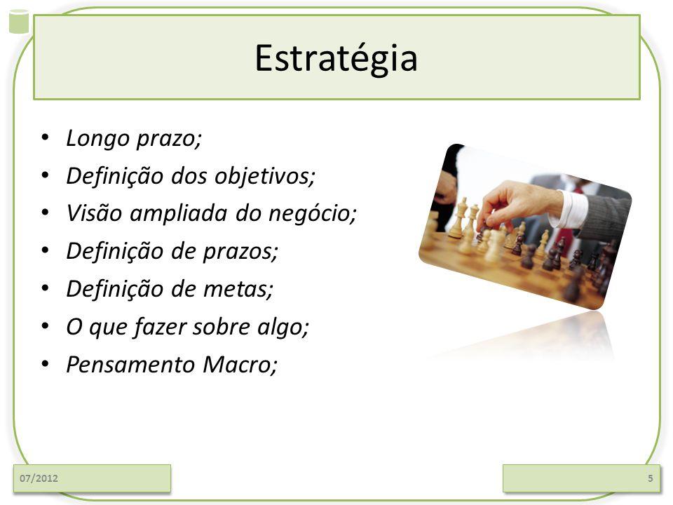 Estratégia Longo prazo; Definição dos objetivos; Visão ampliada do negócio; Definição de prazos; Definição de metas; O que fazer sobre algo; Pensamento Macro; 07/20125