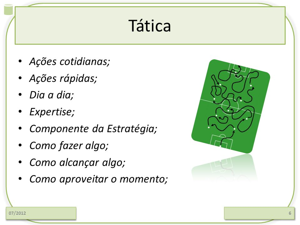 Tática Ações cotidianas; Ações rápidas; Dia a dia; Expertise; Componente da Estratégia; Como fazer algo; Como alcançar algo; Como aproveitar o momento; 07/20126